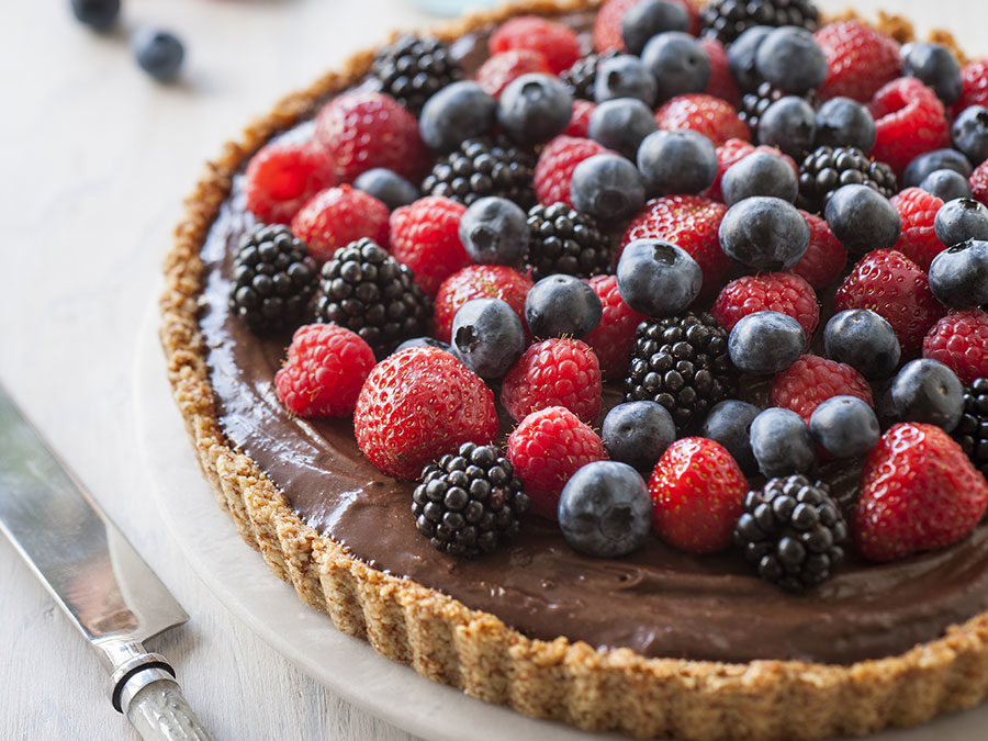 Chocolate mousse, toasted almond & mixed berry tart