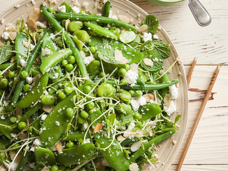 Green salad with quinoa, lemon, feta & mint