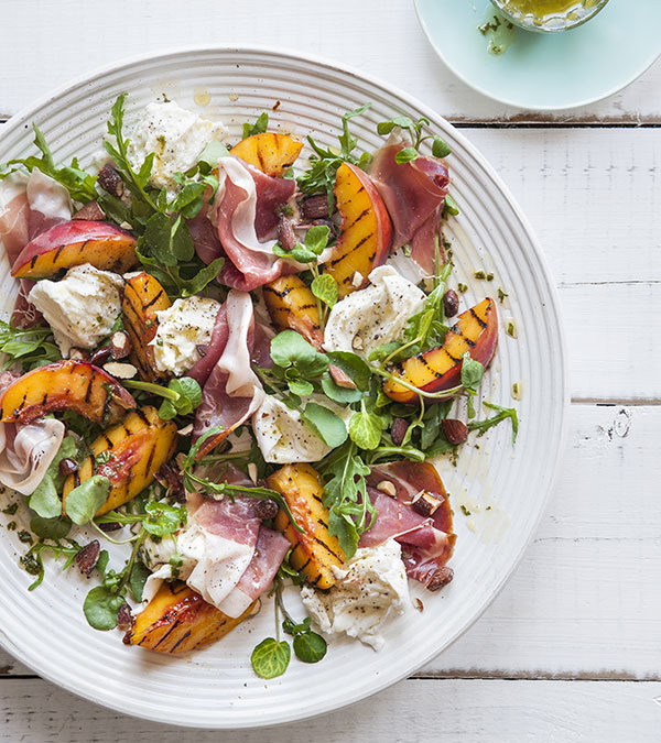 Char-grilled peach salad with Prosciutto, Buffalo Mozzarella & Basil