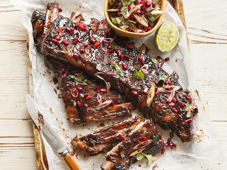 Sticky pork ribs with pomegranate salsa