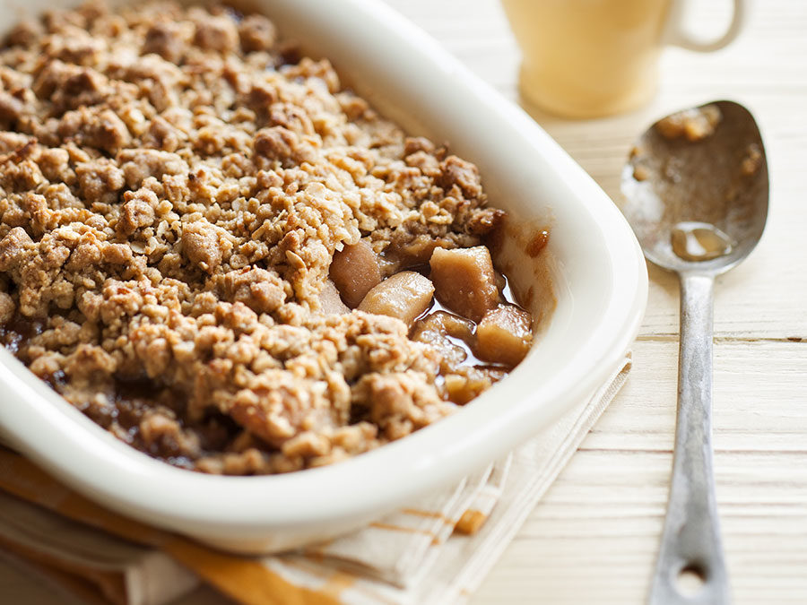Caramelised pear & ginger crumble