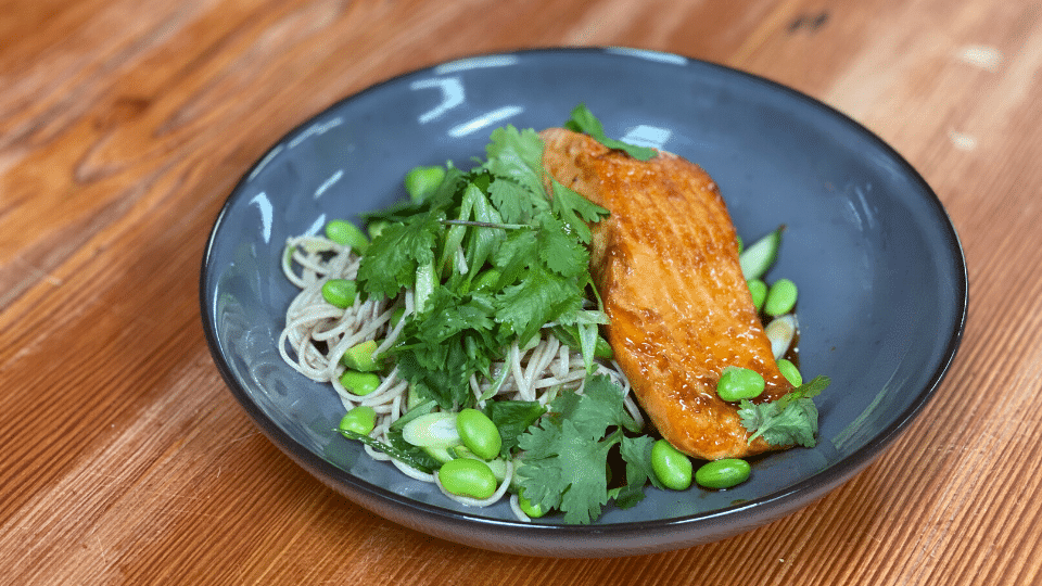 Sprout at Home: Salmon and Soba Noddles with Avocado and Edamame